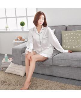 long sleeved Leisure silk like short sets of pajam...