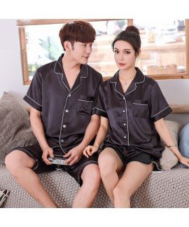 Simulated silk couple pajamas set summer short-sle...