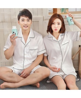 Simulated silk couple pajamas set summer short-sleeved shorts couple sleepwear