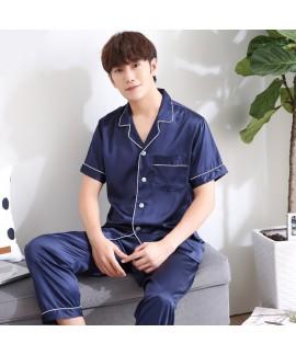 Men's short sleeve SILK PAJAMA set Ice silk plus size pajamas male