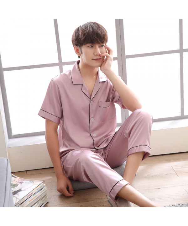 Men's short sleeve SILK PAJAMA set Ice silk plus s...