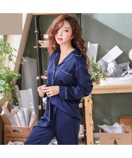 long sleeve Simulated silky nightwear casual cardigan ice silk pajamas for women