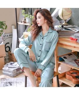 long sleeve Simulated silky nightwear casual cardi...