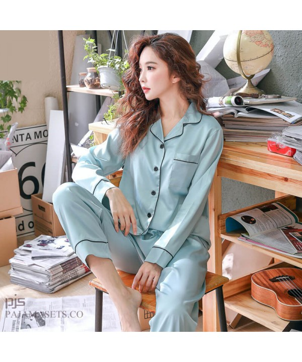 long sleeve Simulated silky nightwear casual cardigan ice silk pajamas for women