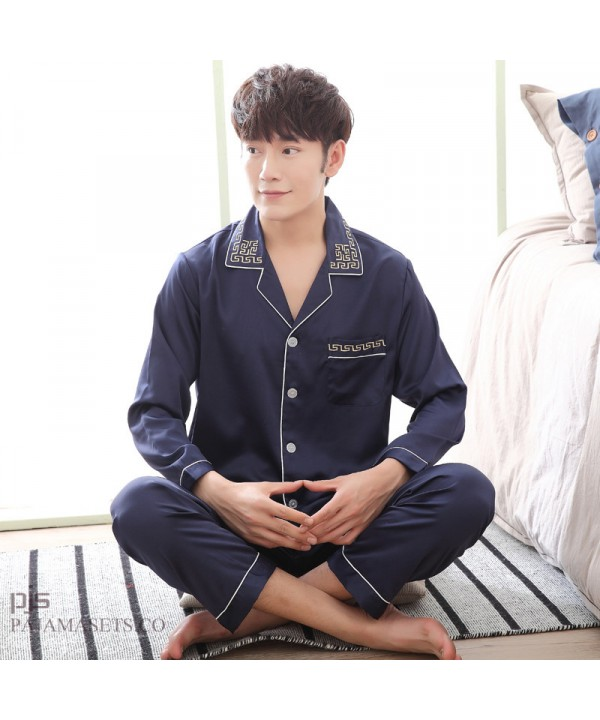New long-sleeved  men's silk nightwear for spring large-size male set of pajamas