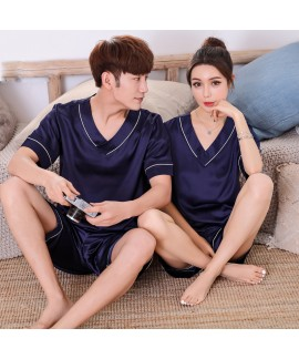 Couple Sleepwear Short Sleeve pajama sets Ice Silk Sleepwear for Women