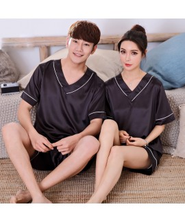 Couple Sleepwear Short Sleeve pajama sets Ice Silk...