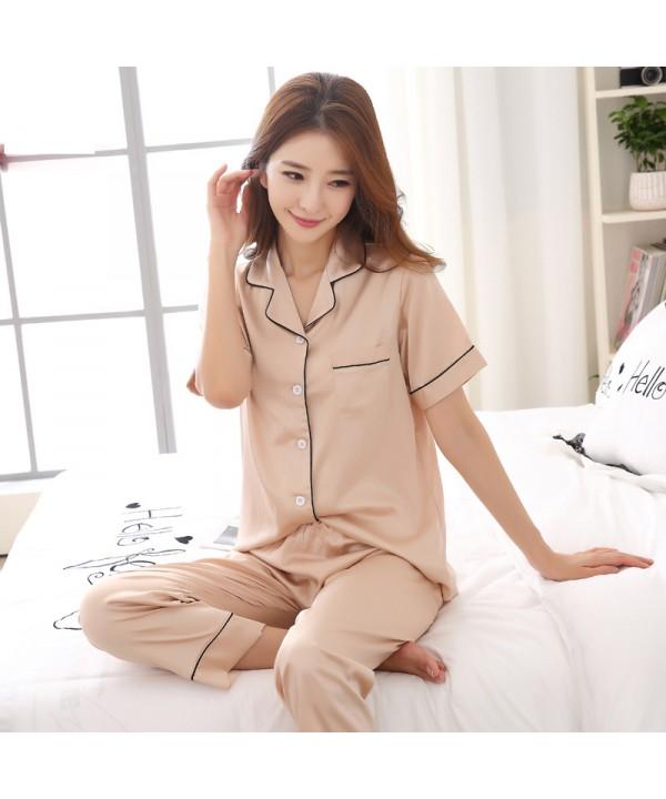 Short-sleeved silk like lady's sleepwear sets larg...