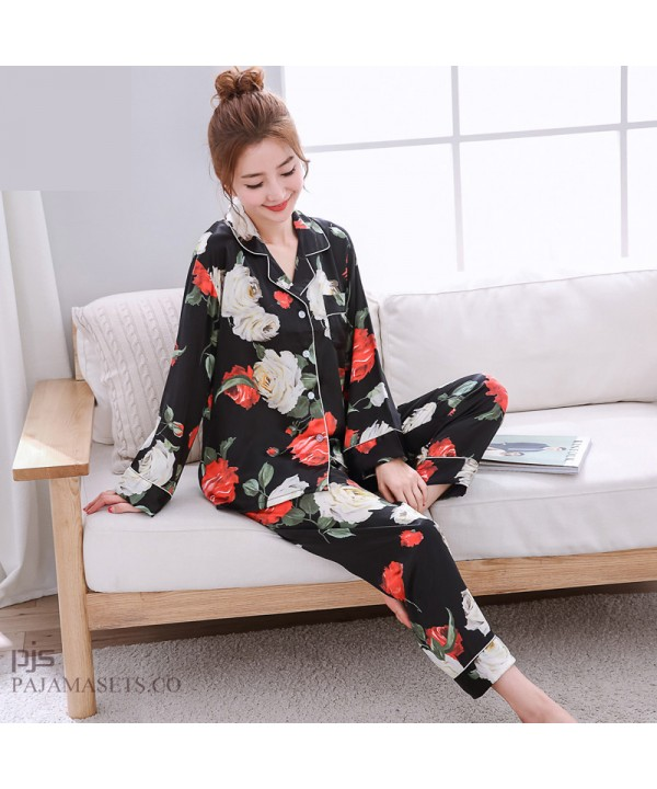 Long Sleeve Printed Ice Silk Pyjamas Female Leisure cardigan Large size silky nightwear for women