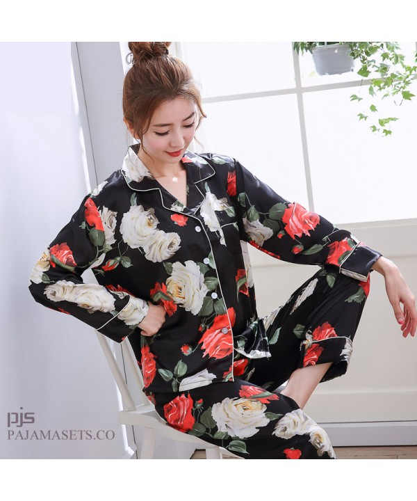 Long Sleeve Printed Ice Silk Pyjamas Female Leisur...