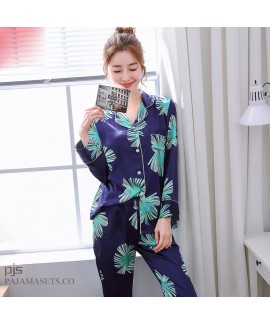Simulated female silky nightwear for spring long-s...