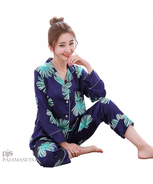 Simulated female silky nightwear for spring long-sleeved print leisure cardigan pajama sets for women