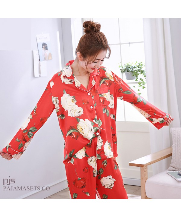 long sleeve printed female silky nightwear for spring large size lovely cardigan ice silky nightwear for women