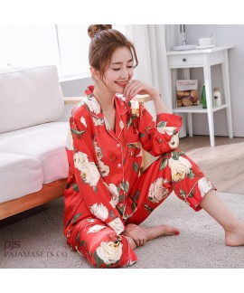 long sleeve printed female silky nightwear for spr...