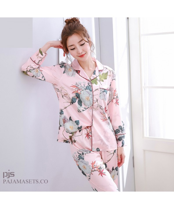 long sleeved fashion printed silky nightwear for women large size cardigan ice silk female pajamas