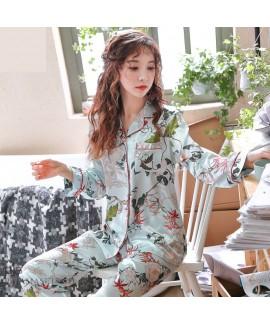 long sleeved fashion printed silky nightwear for women large size cardigan ice silk female pajamas