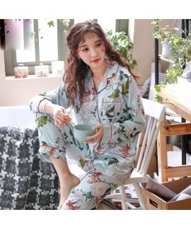 long sleeved fashion printed silky nightwear for w...