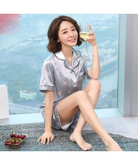 Short sleeved cardigan Ice silk pajamas for summer...