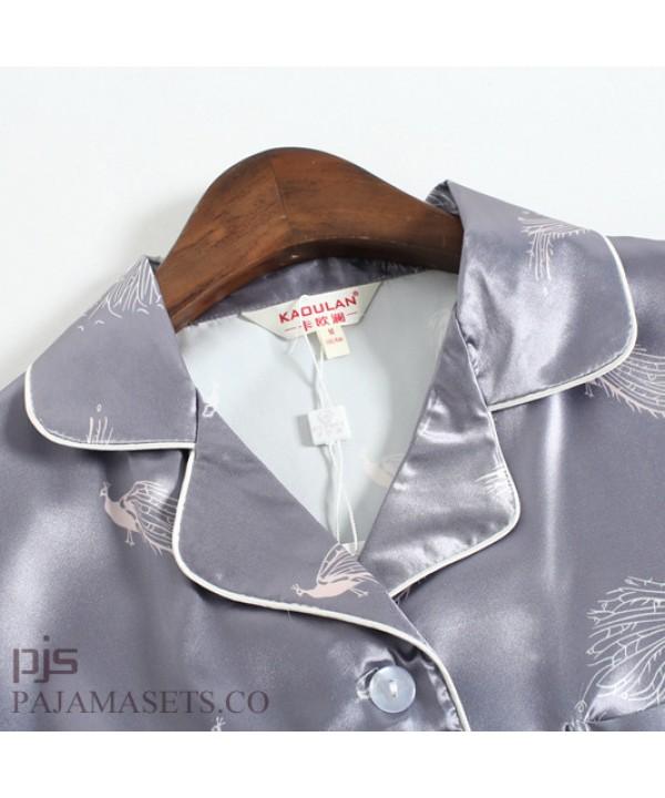 Lovely Ice silk female pajamas for summer leisure ladies silk nightwear