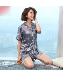 Lovely Ice silk female pajamas for summer leisure ...