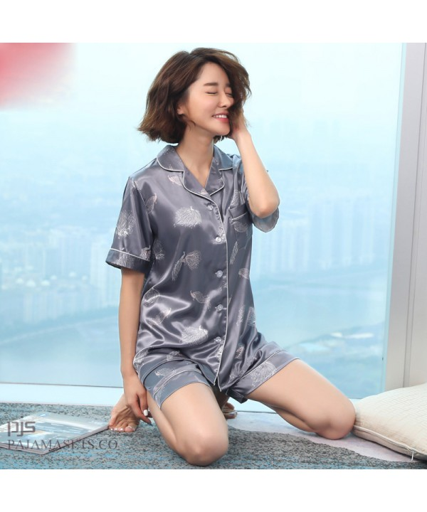 Lovely Ice silk female pajamas for summer leisure ...