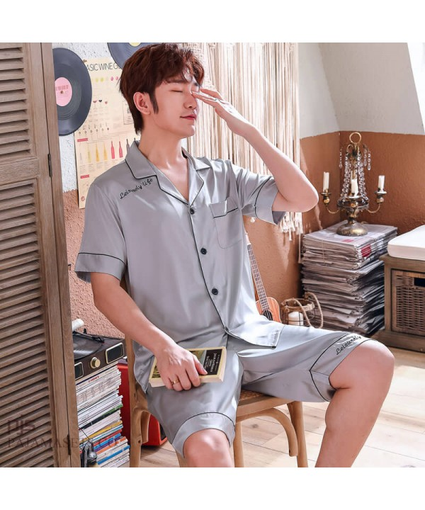 Ice Silk Men's Short Sleeves Sleepwear Set Large Size Simulated Silk pajama male