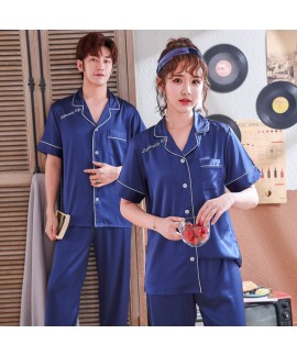 New silk-like couple's pajamas set thin Ice-silk c...