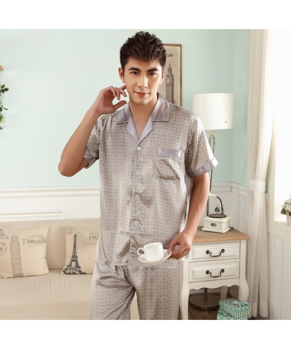 Simulated Silk Men's Short Sleeve pajama sets for ...