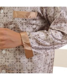 Thin comfy silk like men's sleepwear for winter cheap long sleeves pajama sets