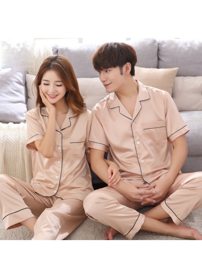 New short-sleeved ice silk couple pajamas set silk couple sleepwear