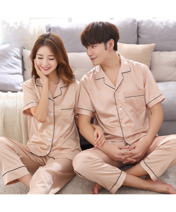 New short-sleeved ice silk couple pajamas set silk...
