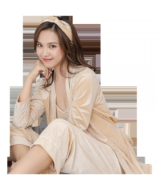 Long sleeved velvet sexy nightgown three piece Pajama sets