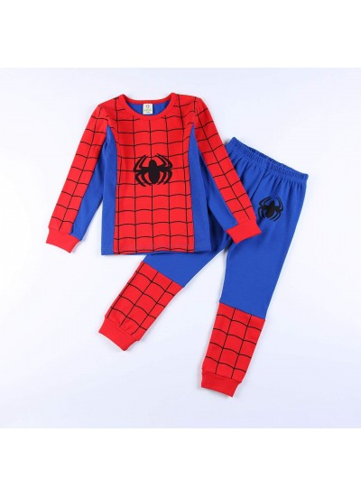 Kids cotton pajamas boys home long-sleeved autumn clothes spiderman two-piece set