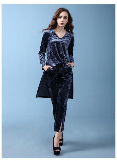 Long sleeved irregular jacket, wide leg pants,pure color casual women's suit