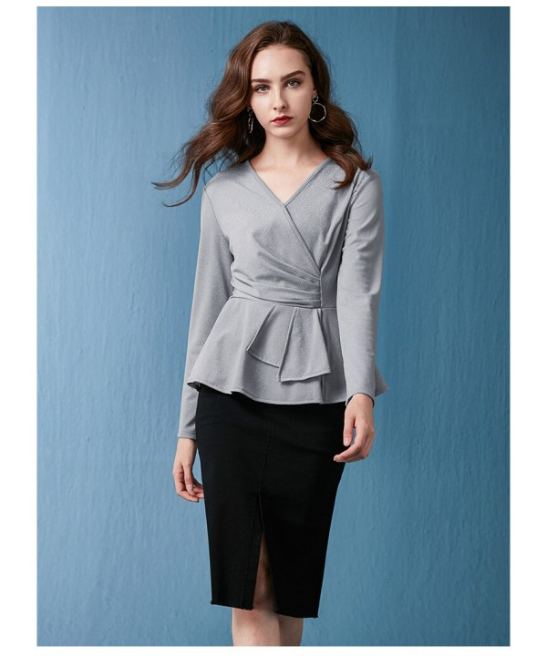 Long sleeves high elastic irregular knitwear hip s...