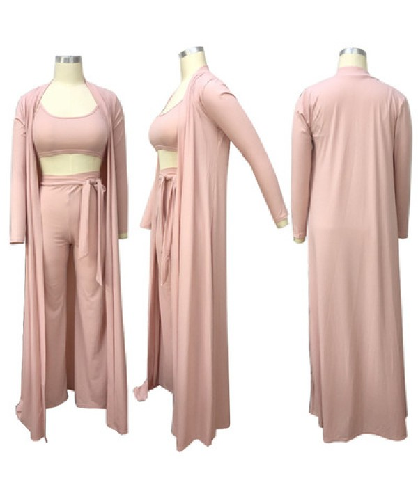 Fashion casual pure color suit women's elastic knitted 3 sets