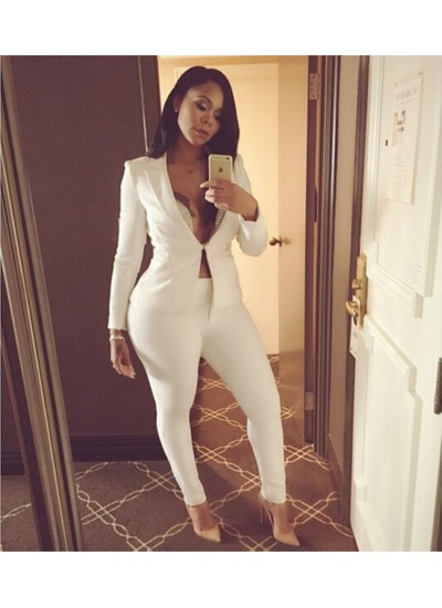 Autumn women's long sleeves leisure sexy suits, two pairs of white suits