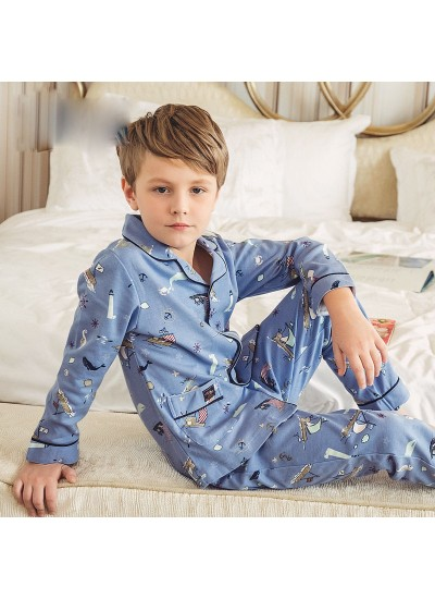 pure cotton long sleeves Boys' pajamas for spring and autumn