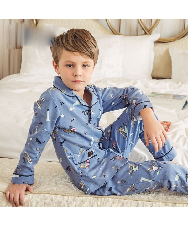 pure cotton long sleeves Boys' pajamas for spring ...