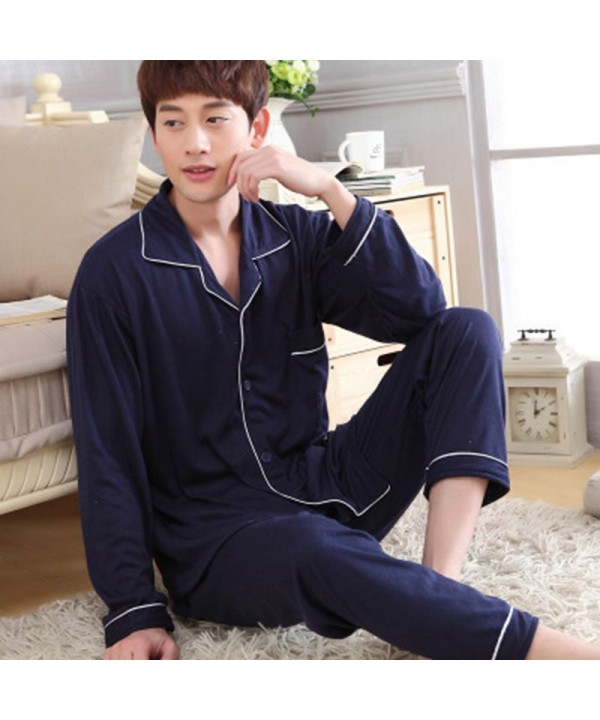 long sleeves Cotton men's pyjamas loose fitting co...
