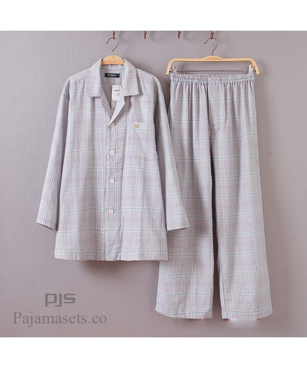 Long-sleeved Mens Cotton Pajama sets for spring Double-layer Cotton Yarn lounge pajamas male