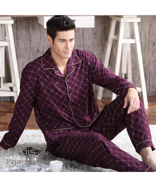 High-grade Knitted Men's Cotton Sleepwear sets Lei...