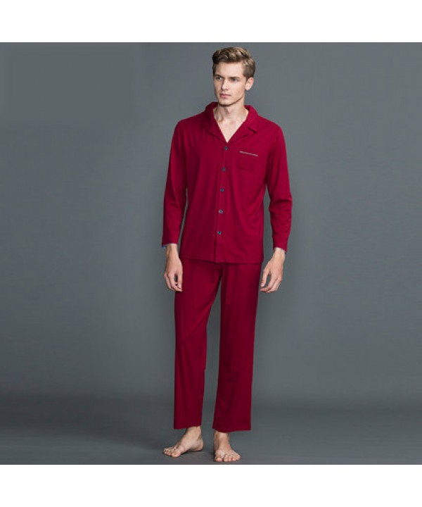 Pure color men's long sleeved cotton Pajamas male for spring and autumn