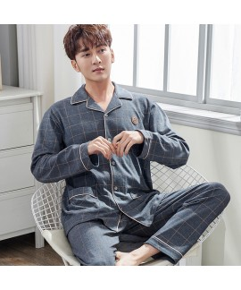 Long-sleeved men's Plaid autumn and winter cotton cardigan Lapel middle-aged pajamas can be worn outside pyjamas