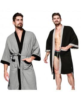 Cotton pajama set with Robe casual bathrobe sauna ...
