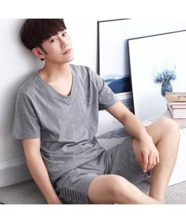 Cotton short sleeved pajama sets male comfy pajamas short sets for men