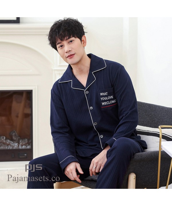 Leisure cardigan thickened Pure Cotton pajama sets for men New style plus size lounge pajamas male for spring