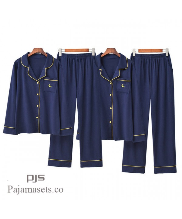 New Couple Embroidery Cotton pj sets comfy long sleeved Turn-collar Nightwear for spring