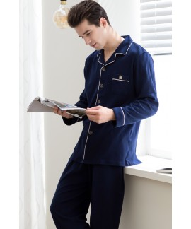 Navy cotton long sleeved Men's pyjamas for spring ...