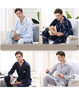 Luxury printing solid color long sleeves cotton Men's pajama sets